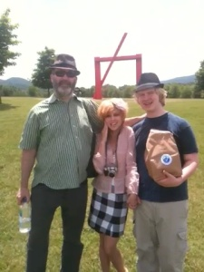 Family posing with their Bistro-to-Go take out at Harriman State Park.